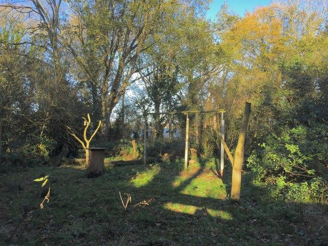 Belvide Reservoir: feeding station in wood