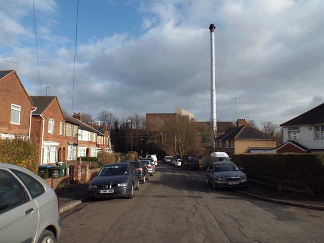 Shortley Road and the incinerator, Whitley, Coventry