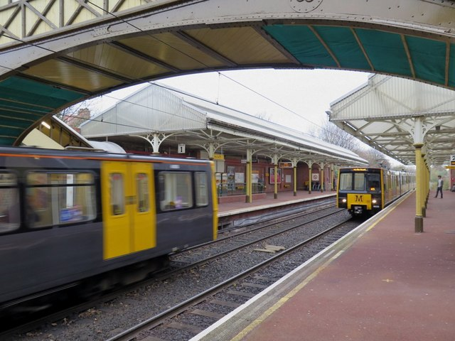Metro trains at Cullercoats Metro Station