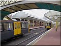 NZ3671 : Metro trains at Cullercoats Metro Station by Andrew Curtis