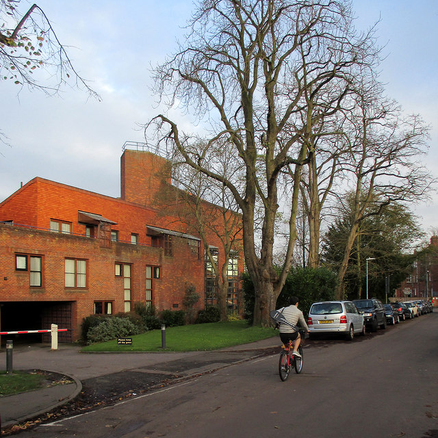 Cycling past Robinson College