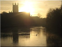 SO8454 : Sunrise behind Worcester Cathedral #1 by Philip Halling