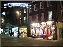 SO8554 : Christmas lights on Worcester High Street by Philip Halling