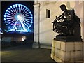 SP0686 : Sculpture on the Hall of Memory and big wheel by Philip Halling