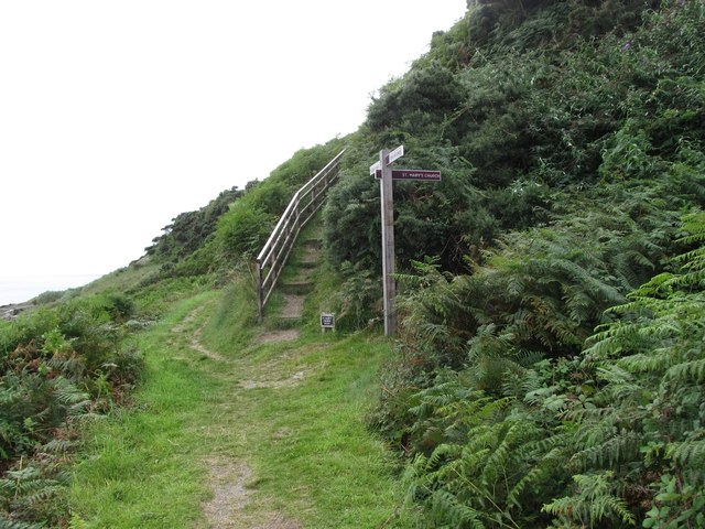 Steps leading from the Mourne Coastal Path to the ruined St Mary's Church