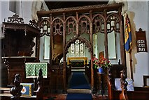TM1273 : Yaxley; St. Mary the Virgin Church: The Jacobean pulpit (1635) and screen by Michael Garlick