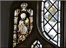 TM1273 : Yaxley; St. Mary the Virgin Church: Medieval glass fragments in window by Michael Garlick