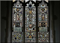 TM1273 : Yaxley; St. Mary the Virgin Church: The east window filled with medieval glass fragments by Michael Garlick