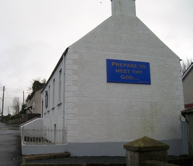 Religious message on the gable end of Crossgar Gospel Hall