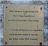 NS2875 : Plaque at Greenock Central railway station by Thomas Nugent