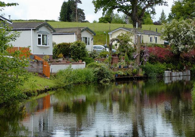 Canalside mobile homes near Caunsall, Staffordshire