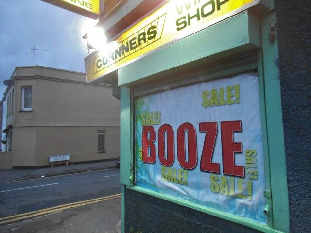 Booze sale, Cornners shop, Sutton