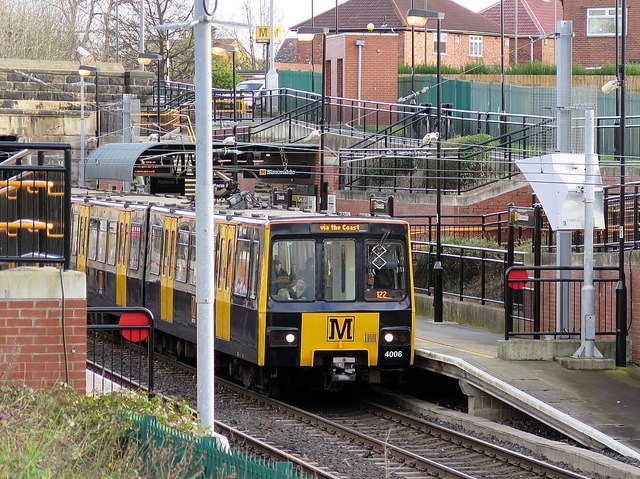 Train at Simonside Metro Station (Platform 2)