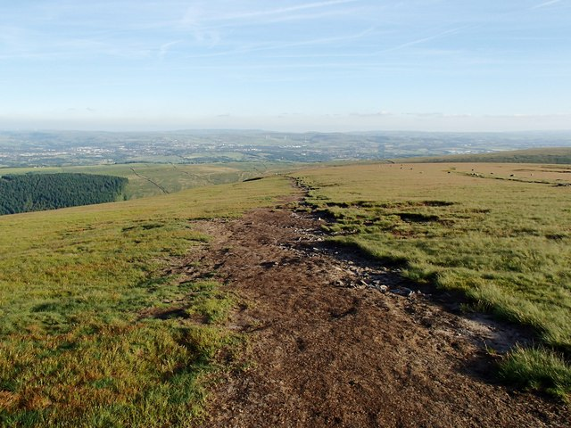 Path heading south from Pendle Hill trig pillar