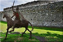 ST5394 : Chepstow Castle: Modern mounted knight feature in the upper bailey by Michael Garlick