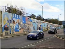 NZ3666 : Painted mural, Commercial Road, South Shields by Andrew Curtis