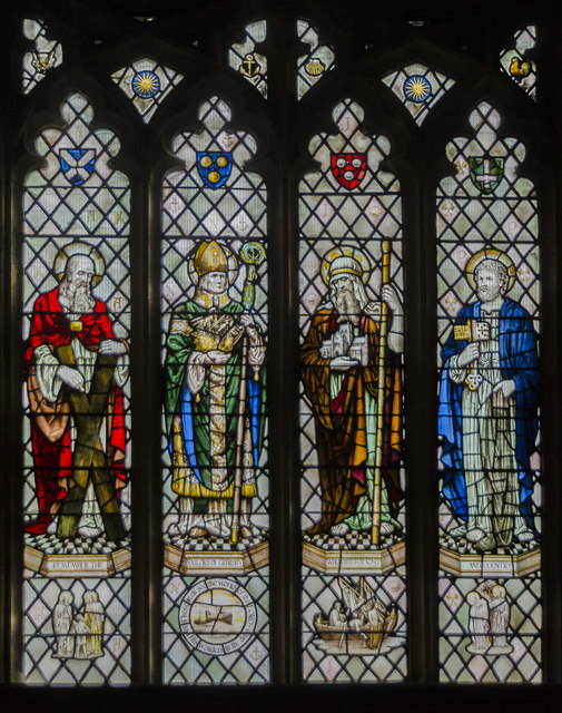 Stained glass window, St James' church, Grimsby