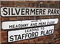 SJ7407 : Three name signs on a Shifnal corner by Jaggery