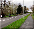 SJ8004 : Warning sign - roadworks 400 yards ahead, Newport Road, Albrighton by Jaggery