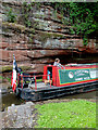 SO8275 : Narrowboat and sandstone rock near Kidderminster, Worcestershire by Roger  Kidd