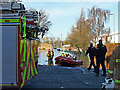 NY4056 : Flood rescue boats in Lismore Place by Rose and Trev Clough