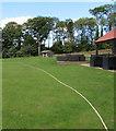 SO5931 : Cricket ground boundary rope, Brockhampton  by Jaggery