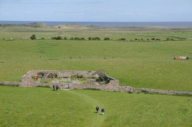 View of Lindisfarne Castle garden