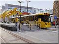 SJ8498 : Metrolink Tram Leaving Exchange Square by David Dixon