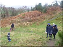 SO3283 : Walkers visiting Bury Ditches hillfort by Jeremy Bolwell
