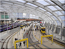 SJ8499 : Manchester Victoria Station Tram Platforms (December 2015) by David Dixon