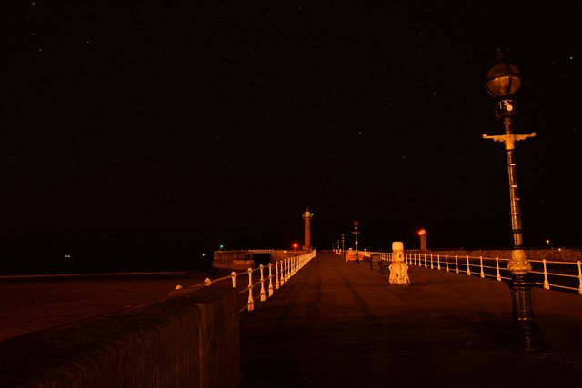 West pier, Whitby, at night