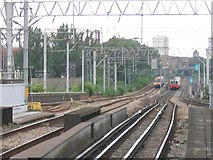 TQ3882 : Passing trains west of West Ham by Stephen Craven