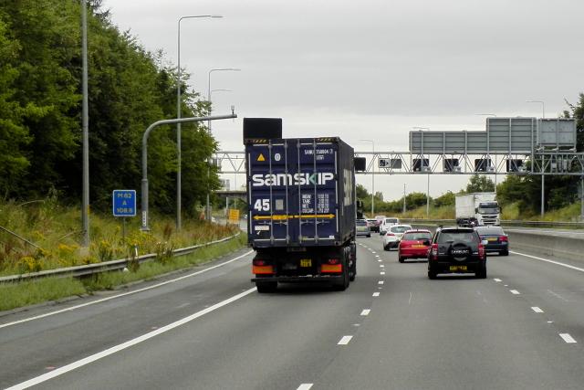 M62 Eastbound passing DLS M62 A 108.6