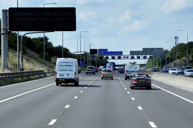 New Variable Message Sign (VMS) on Westbound M62, near to Morley