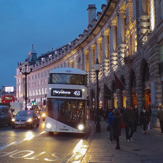 White bus to Marylebone in Regent Street, London