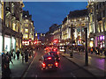 TQ2981 : North on Regent Street, approaching Oxford Circus, winter dusk, London by Robin Stott