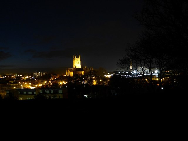 The city of Worcester at night