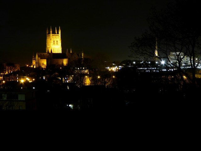 Worcester Cathedral and city at night