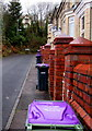 SO2602 : Purple lidded wheelie bins, Snatchwood Terrace, Abersychan by Jaggery