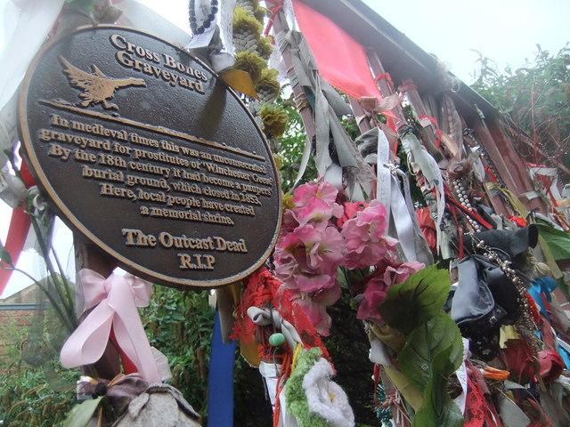 Plaque at Cross Bones graveyard