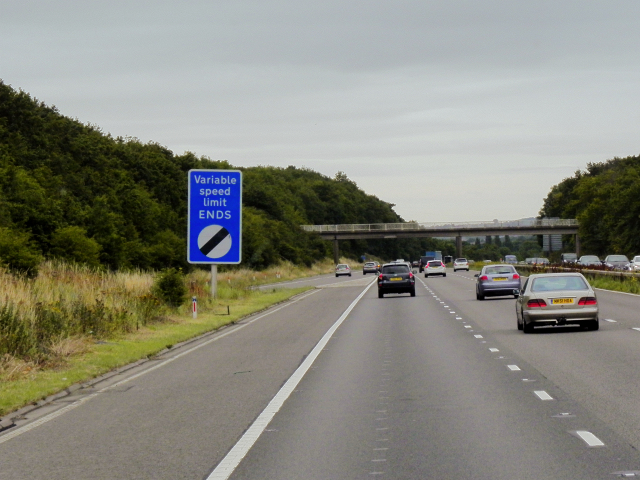 Eastbound M62, End of Variable Speed Limit