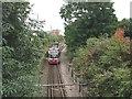 TQ2768 : Tram approaching Mitcham by Stephen Craven