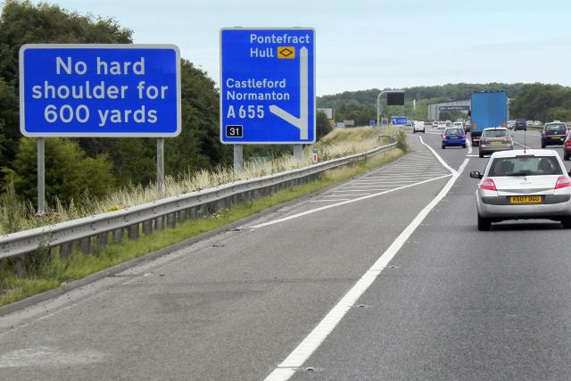 Eastbound M62 near to Normanton