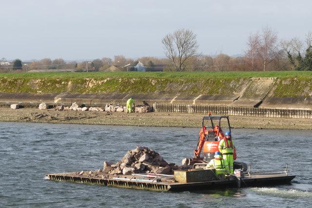 Repairing Startops Reservoir (13) Transporting the Rocks by Raft