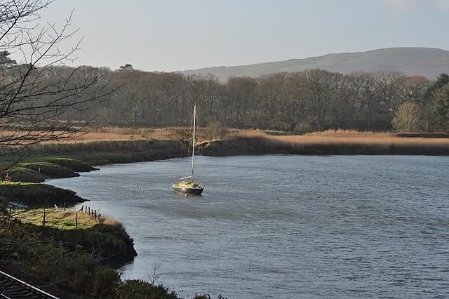Yacht at anchor on the Dyfi