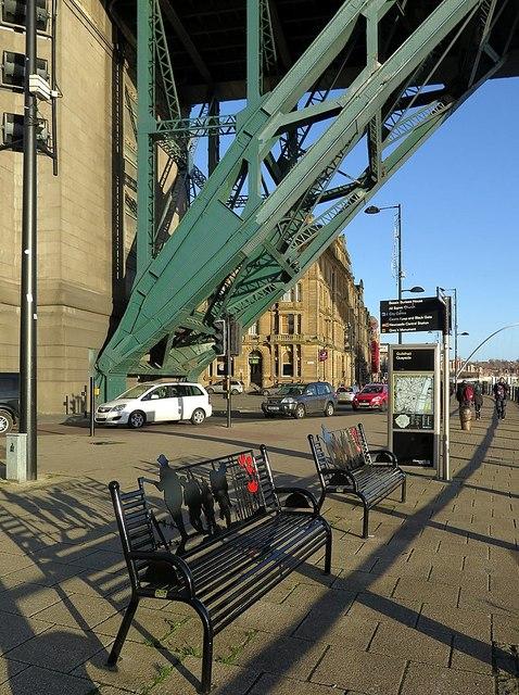 Commemorative seats below Tyne Bridge