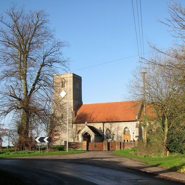 West Wickham church and a bend in the road