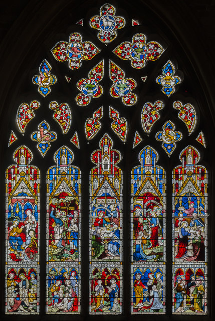 Stained glass window, St Wulfram's church, Grantham