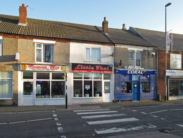 Stanton Hill - Shops on High Street SE of junction with Albert Street