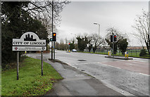 SK9567 : Junction of Newark Road and Tritton Road, Lincoln by Julian P Guffogg